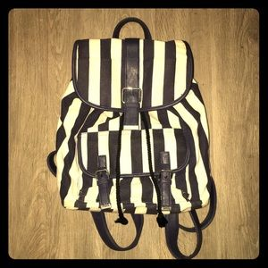 Striped Forever 21 Backpack w/ Leather Straps